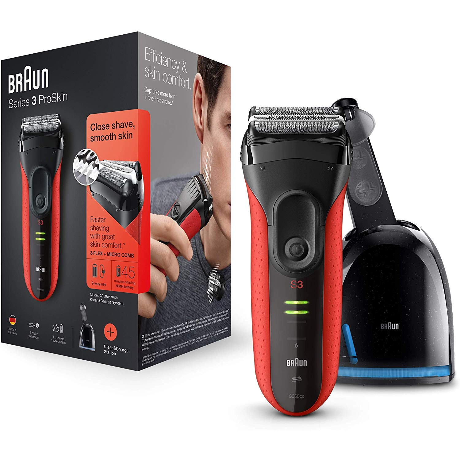 Braun Series 3 3050cc red/black Herrenrasierer
