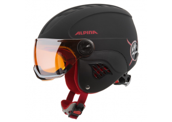 Alpina Carat Le Visor HM Black Red Matt Kinderhelm 54-58cm