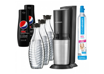 Sodastream CRYSTAL 2.0 Wassersprudler Black +3Karaffen+2 PEPSI Light